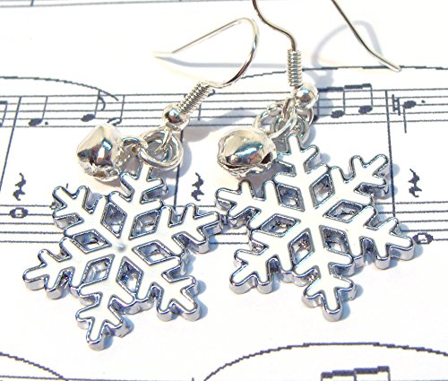 White Snowflake Dangle Earrings with Silver Jingle Bells- Christmas earrings, Christmas gift, white earrings, snowflakes, jingle bells, handmade at amazon, gifts for -