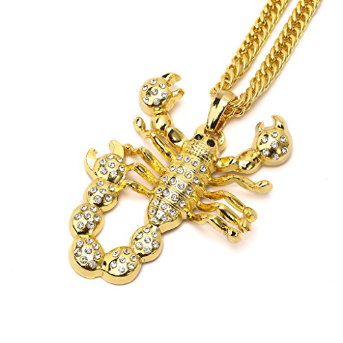 TIDOO Jewelry Mens Hip Hop Necklace Golden Scorpion Pendant Gold Chain