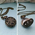 GlobalDealRetro Vintage Steampunk Quartz Necklace Carving Pendant Chain Clock Pocket Watch 8
