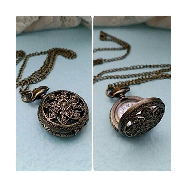 GlobalDealRetro Vintage Steampunk Quartz Necklace Carving Pendant Chain Clock Pocket Watch 5