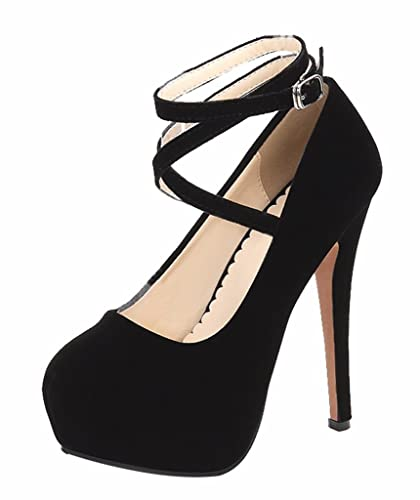 e52bf212850 CAMSSOO Evening Party Shoes for Women Ankle Strap Platform Stiletto High  Heels Dress Shoes Black Velvet