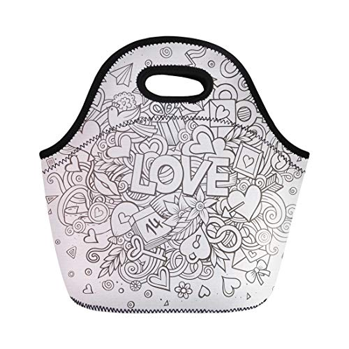 Semtomn Neoprene Lunch Tote Bag February Cartoon Doodle Love Line Detailed and Symbols Celebration Reusable Cooler Bags Insulated Thermal Picnic Handbag for Travel,School,Outdoors,Work