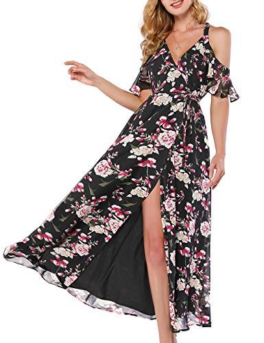 Azalosie Women Wrap Maxi Dress Floral Cami Spaghetti Stap Ruffle Cold Shoulder Tie Flowy Summer Beach Party Wedding Dress