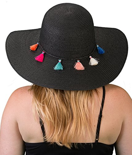 H-2019-06 Embellished Floppy Beach Foldable Packable Sun Hat - Black -