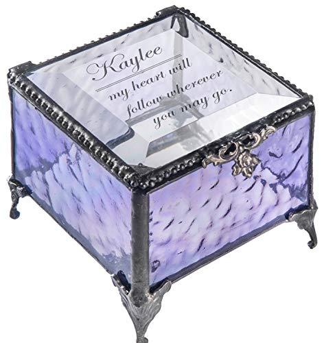 J Devlin - Sarah Series - Personalized Glass Box Engraved Keepsake Gift for Wife, Girlfriend, Daughter Decorative Keepsake Jewelry Trinket Box (Purple)