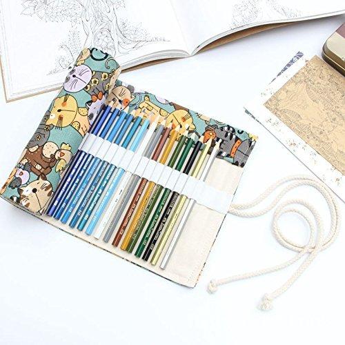 Les Crayons ne sont Pas fournis Amoyie Toile Trousse /à Crayon Rouleaux 72 Crayons de Couleur Beige Noir