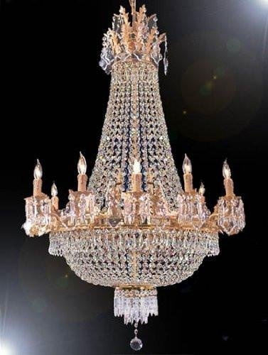 FRENCH EMPIRE GOLD CRYSTAL CHANDELIER CHANDELIERS LIGHTING 25X32 12 LIGHTS