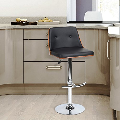 WOHOMO Swivel Barstool Adjustable Bar-Height Leather Kitchen Stool with Genuine Walnut Back and Stainless-Steel Footrest, Black - Leather Steel Bar Stool
