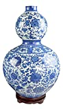 19'' Classic Blue and White Porcelain Gourd-shaped Vase, China Ming Style, Happiness, Good Fortune, Fengshui, Jingdezhen, Free Wood Base