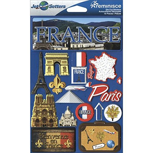 Reminisce JST-056 Jet Setters 3-Dimensional Die-Cut Sticker, France