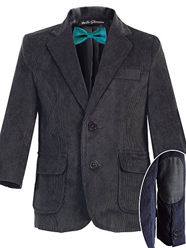 (Bello Giovane Boys Charcoal Corduroy Blazer SZ 8-14 (Pick Your Free Bow Tie) (8, Teal))