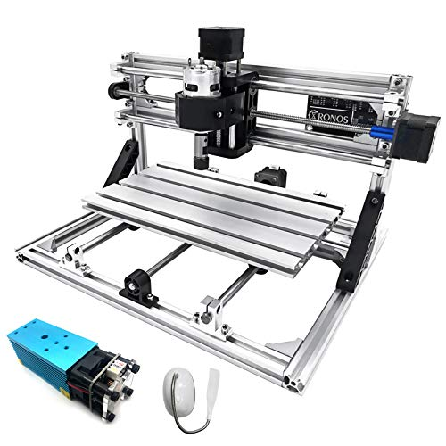 Mophorn CNC Machine 3018 Grbl Control CNC Router Kit 3 Axis PCB Laser Engraver 300X180X45mm With 2500mW Blue Light Laser Module and Table Lamp