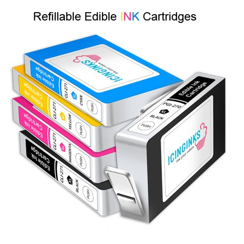 Edible Printer Bundle - Icinginks Canon Cake Printer With Refillable Edible Cartridges, Icing Sheets Pack - 12 Sheets - Newer Model Edible Printer by Icinginks (Image #1)
