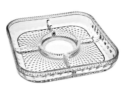 Godinger Silver Art Belmont 5-section Non-leaded Crystal Chip & Dip Server Tray Platter