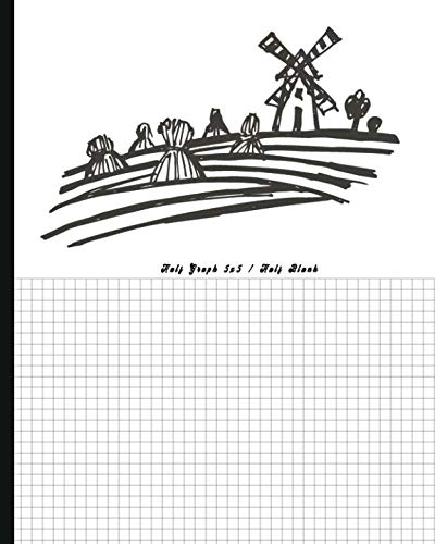 Half Graph 5x5 / Half Blank: Half Graph Paper (four squares per inch 0.20