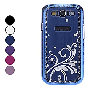 Flower Pattern Hard Case with Rhinestone for Samsung Galaxy S3 I9300(Assorted Colors) --- COLOR:Blue