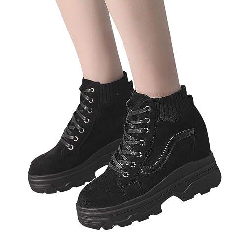 Botas de Calcetines bajo Plataforma Mujer Invierno 2018 PAOLIAN Botas Militares con Cordones tacón Ancho caña Negras Zapatillas Deportivo Escolares Negras ...