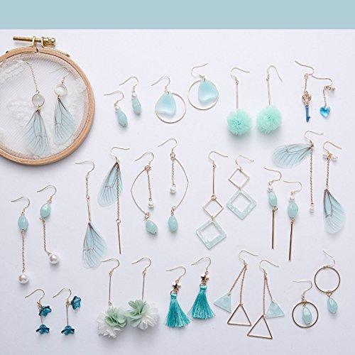 (Pork green line minimalist hand-made mustard green mint green silver earrings hypoallergenic earrings ear clip blue-green series)