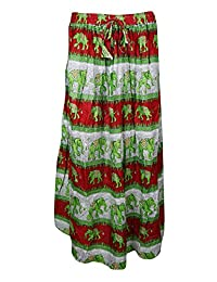 Mogul Womans Long Skirt Elephant Print A-Line Flare Boho Gypsy Maxi Skirts
