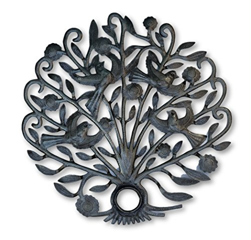 it's cactus – metal art haiti Metal Garden Tree, Birds, and Flowers, Wall Mounted Reclaimed Art from Haiti 21″ X 21″
