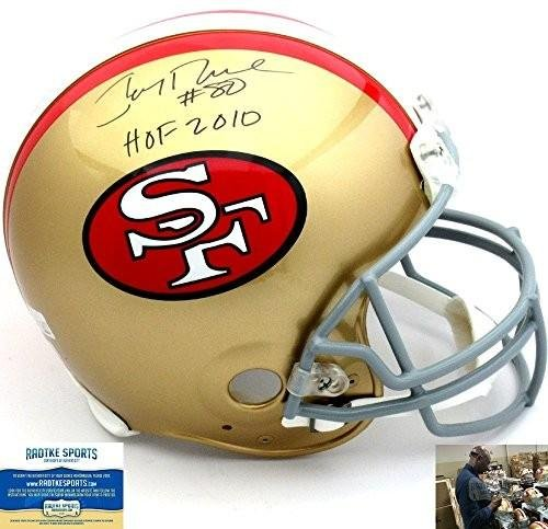 Jerry Rice Autographed Helmet - Riddell Throwback 1964 1995 Style (1995 Authentic Throwback Helmet)