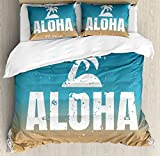 Vintage Hawaii Queen Size Duvet Cover Set by Lunarable, Aloha Quote Grunge Style Framework Sky Background Vintage Effect, Decorative 3 Piece Bedding Set with 2 Pillow Shams, Blue Sand Brown White