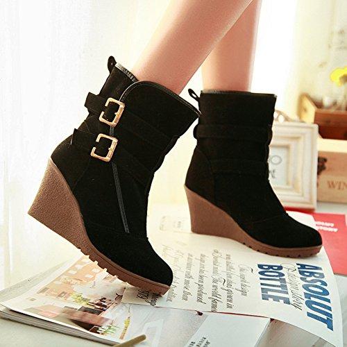 Black Fashion Women's Buckle Boots Wedges Ankle Heels fereshte with U4vwq8Ux
