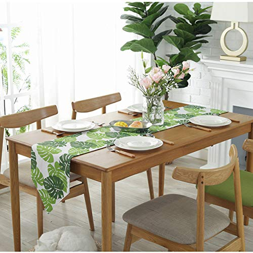 Astra Gourmet Classic Durable Linen Burlap Table Runner with Green Tropical Monstera Palm Leaves for Spring Summer Wedding Party Birthday Party Home Decor, Hawaii Luau Party Decor, 12x71 inch