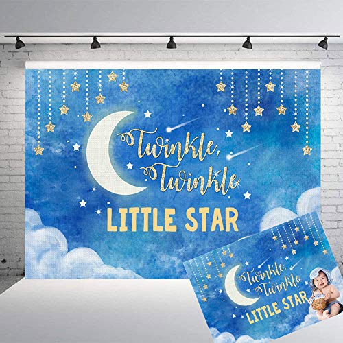 (Qian Vinyl 7x5ft Blue Gold Twinkle Twinkle Little Star Theme Photo Toddlers Night Moon Sky Backdrops Studio Props Banner Baby Shower Boy Or Girls Birthday Party Decoration Photography)