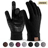 Winter Knit Gloves For Men And Women, Touch Screen Texting Soft Warm Thermal Fleece Lining Gloves With Anti-Slip Silicone Gel (Black-L)