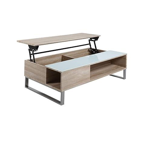 Tavolino Salotto Apribile.Des Gmbh Tavolino Da Salotto Tessuto Apribile Vetro