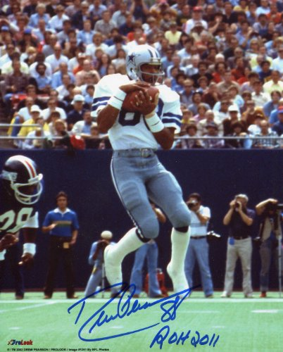 - Drew Pearson Signed 8x10 with Ring of Honor Inscription- Dallas Cowboys