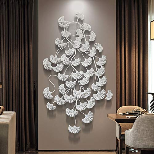 - FENDOUBA Metal Art Wall Decoration, Three-Dimensional Wrought Iron Ginkgo Leaf Wall Hanging for Living Room Office Sculpture Free Hanging 38x13x1inch (Color : Silver)