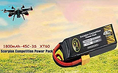 1800mAh-45C-2S Scorpion 1800mAh 2S LiPo Battery 45C Pack with XT60 Plug for RC Boat Heli Airplane UAV Drone FPV Skylark Emax Nighthawk 250