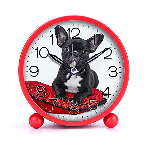 Cute Color Alarm Clock, Round Metal Desk Clock Portable Clocks with Night Light House Decorations -048.Bulldog-Puppy-Dog-pet (White)