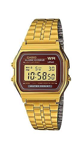 Casio A159WGEA-5 Reloj Digital para Hombre con Alarma de crongorgrafo en Tono Dorado Vintage y LCD: Amazon.es: Relojes