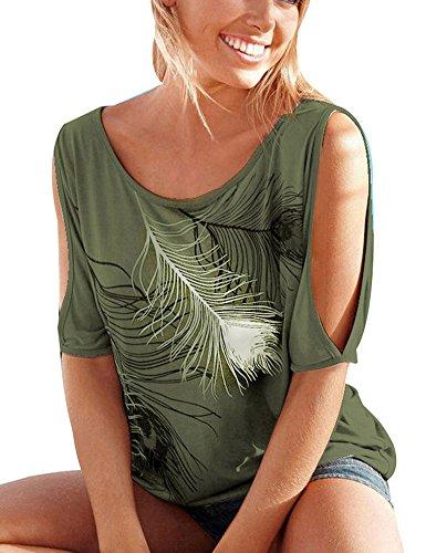 ELFIN®Sommer Frauen Bluse weg von der Schulter Short Sleeve Feder Druck Muster Jumper Tops Pullover T-Shirt