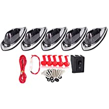 CCIYU 5x Smoke Cab Marker Roof Top Clearance Light Replacement + 1 Set Wiring Pack Switch Assembly Wire Harness For Truck Trailer Waterproof Semi-trailer