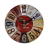 Wall Clock, GOODCULLER Digital Classical Vintage Style Non-Ticking Silent Antique Wood Wall Clock for Home Kitchen Office (E)