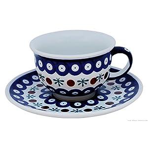 Boleslawiec Pottery Tasse à café et soucoupe en céramique Boleslawiec Motif 41 0,2l