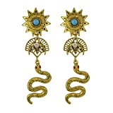 CHUYUN Fashion Vintage Egyptian Totem Earrings Sun Moon Diamond Snake Earrings