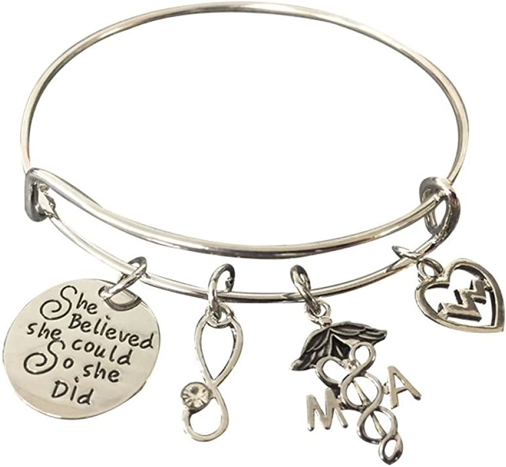 Medical Assistant Bracelet Charm Bracelet, She Believed She Could So She Did MA Jewelry, Medical Assistant Gifts for Women