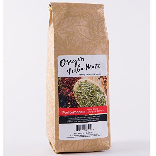 Damiana Leaves (Oregon Yerba Mate, Performance Blend [Weight Loss, Energy, and Stamina], Premium Organic Loose Leaf Tea, Smooth Taste, Healthy Alkaline Caffeine, 16 Ounce)