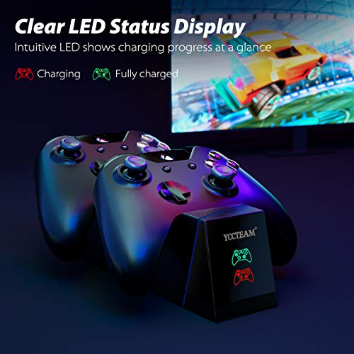 Xbox One Controller Charger,YCCTEAM Xbox One Battery Pack Rechargeable for Xbox One, Xbox One X, Xbox One S, Xbox One Elite Controller, Xbox One Charging Station with 2pcs 1200mAh Rechargeable Battery 6