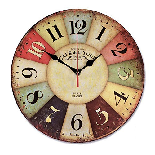 Retro Wooden Wall Clock Farmhouse Decor, Silent Non Ticking Wall Clock