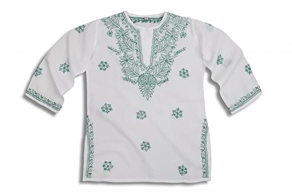 60e3560a1fbb Image Unavailable. Image not available for. Colour  Mini Children s White  Beach Cover Up Kaftan with Turquoise Hand Embroidery
