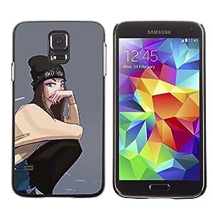 FlareStar Colour Printing Grey Hipster Skate Punk Teenage Girl cáscara Funda Case Caso de plástico para SAMSUNG Galaxy S5 V / i9600 / SM-G900F / SM-G900M / SM-G900A / SM-G900T / SM-G900W8