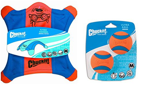 ChuckIt! Fetch Games Floating Toy Bundle for Dogs with ChuckIt! Medium Flying Squirrel and ChuckIt! Medium Ultra Ball 2 Pack