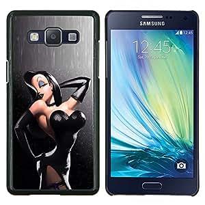 YiPhone /// Prima de resorte delgada de la cubierta del caso de Shell Armor - de cuero atractivo empuja hacia arriba la mujer del pelo negro - Samsung Galaxy A5 A5000