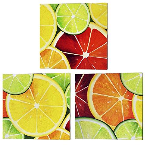 Sliced Fruit by Unknown, 3 Piece Canvas Art Set, Kitchen Art